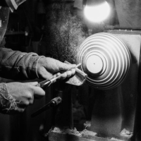 In the black and white at work gallery: carving a bowl on the lathe