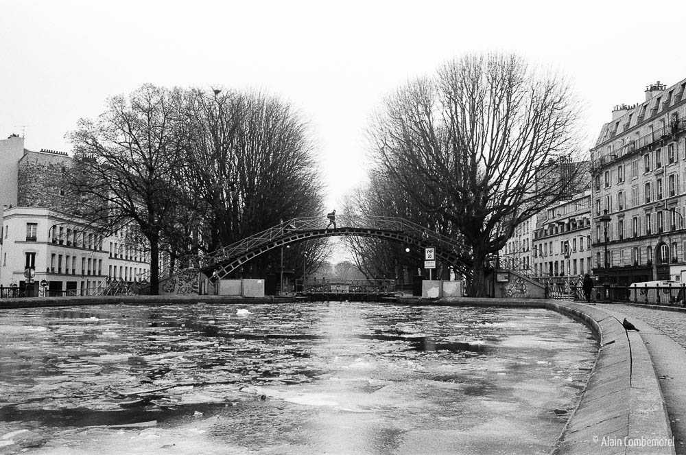 Canal St Martin under ice, Paris - Black and White
