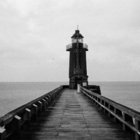 Picture in black & white of Fecamp harbour entrance, North lighthouse