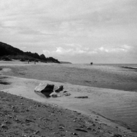 Picture in black & white from the beach at Honfleur