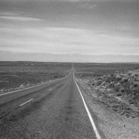 Picture in black & white from an empty road in Nevada