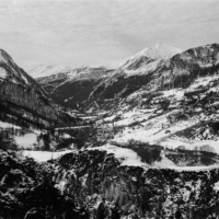Picture in black & white of Grande Serenne valley