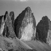 Black and white picture of the Tre Cime di Lavaredo
