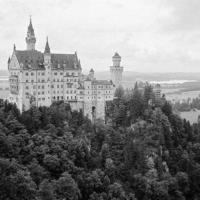 Picture in black & white of The Neuschwanstein Castle (Bavaria)