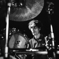Portrait in Black & white of François, drum player from Biocide band