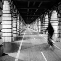 Picture in black & white from under pont de Bercy (Paris)