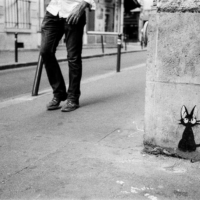 Picture in black & white of tag in Paris