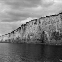 A view of Criel sur Mer Cliffs in Black and White- Large Format (4x5) photography